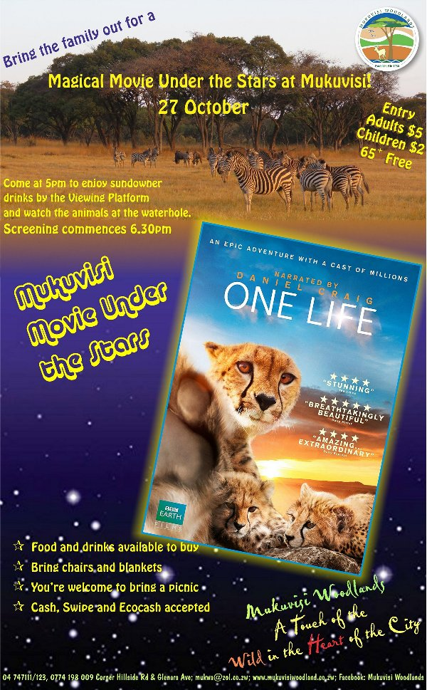 One Life Movie Screening Mukuvisi flyer Oct 2017