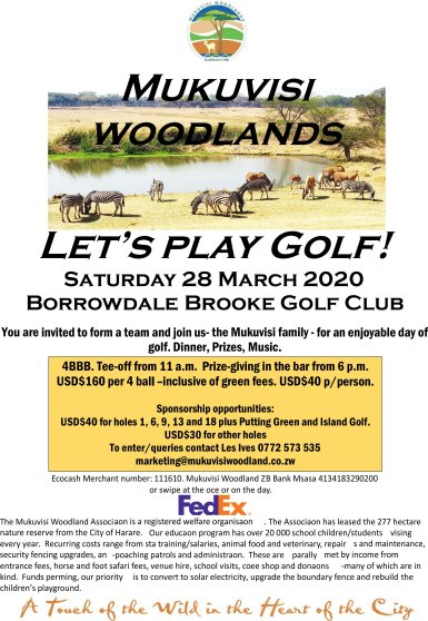 Mukuvisi Woodlands Golf Day March 2020